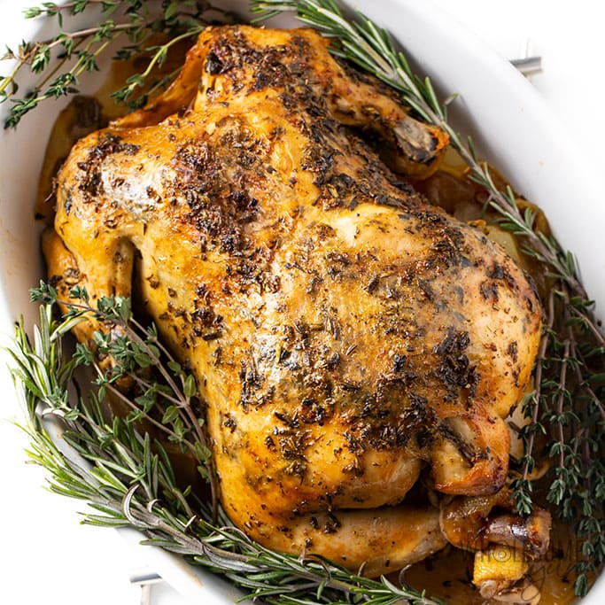 CROCK-POT WHOLE CHICKEN RECIPE WITH GARLIC HERB BUTTER ...